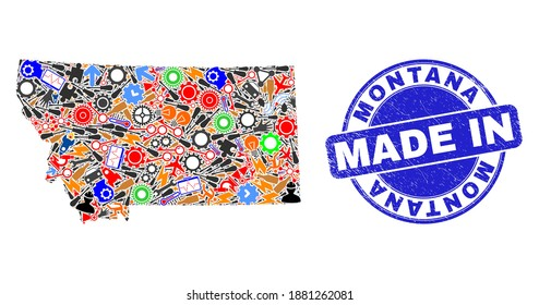 Engineering Montana State map mosaic and MADE IN distress stamp seal. Montana State map mosaic designed with wrenches, gearwheels,instruments,elements,cars,power strikes,details.