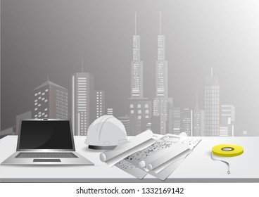 Engineering office and city background