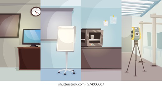 Engineering office vertical banners with different workplaces of engineers in flat style vector illustration