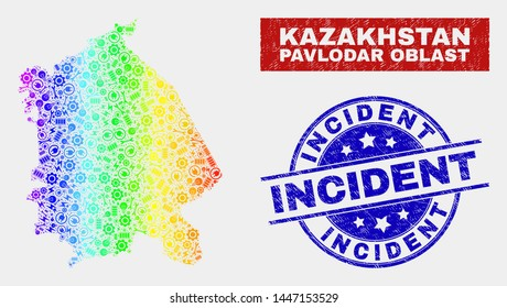 Engineering Pavlodar Region map and blue Incident textured seal stamp. Colorful gradiented vector Pavlodar Region map mosaic of engineering units. Blue round Incident stamp.