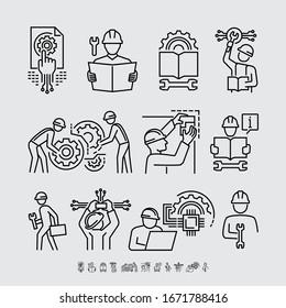 Vektorillustration der Ingenieurbüro-Workstation-Line-Symbole