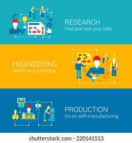 Engineering professionals science research production concept flat business icons set factory management manufacturing workers vector web illustration website click infographics elements collection