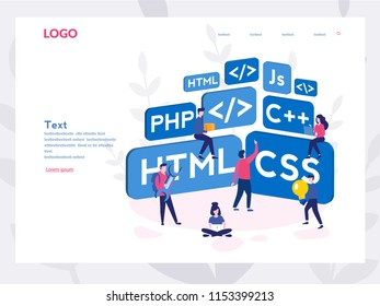 Engineering, Programmer development, Software programming Concept for web page, banner, presentation, social media. Vector illustration project team of engineers for website, PHP, HTML, C++, CSS, Js.