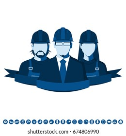 Engineering team. Flat avatars of technical service employees. Vector illustration with man and woman in work helmet.