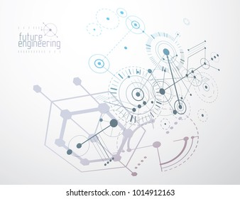 Engineering technological vector wallpaper made with hexagons, circles and lines. Modern geometric composition can be used as template and layout. Abstract technical background.