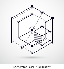 Engineering technology vector black and white wallpaper made with 3D cubes and lines. Engineering technological wallpaper made with honeycombs. Abstract technical background.