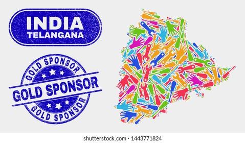 Engineering Telangana State map and blue Gold Sponsor grunge stamp. Bright vector Telangana State map mosaic of engineering. Blue round Gold Sponsor badge.