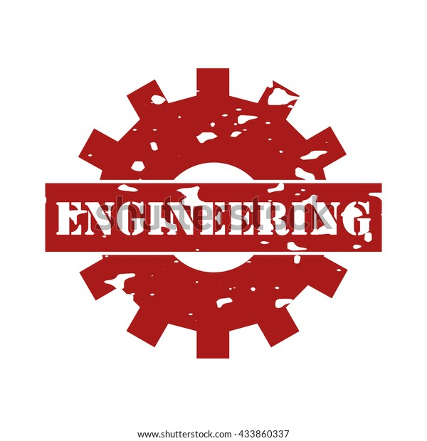 Engineering Text On Logo Rubber Stamp Stock Vector (Royalty