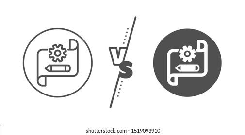 Engineering tool sign. Versus concept. Cogwheel blueprint line icon. Edit settings symbol. Line vs classic cogwheel blueprint icon. Vector
