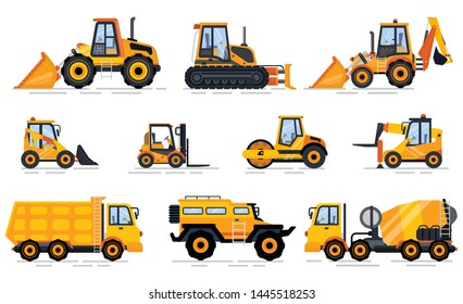 Engineering transport, forklift and tractor, concrete mixing machine, lorry with stairs, off-road car, trucking auto, construction equipment vector