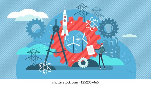 Engineering vector illustration. Professional urban architect occupation. Project with industrial business concept and power station construction. Modern work with precise math and physics calculation