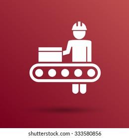 Engineering workshop Industrial operation icon vector button logo symbol concept.