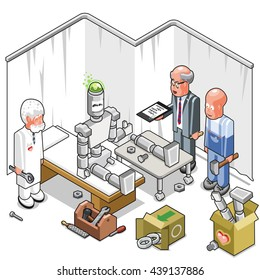 Engineers about to repair a happy robot by reattaching its leg; tools and spare parts lying around (isometric illustration)