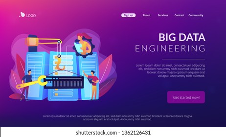 Engineers consolidating and structuring data in the center. Big data engineering, massive data operation, big data architecture concept. Website vibrant violet landing web page template.