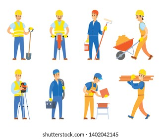 Engineers and designers for building construction vector, isolated set of character wearing uniform and using instruments, paint roller and tolley