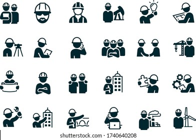 Engineers Icons vector design black