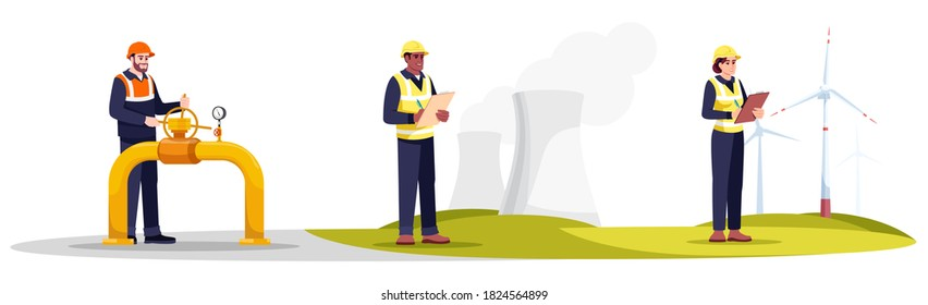 Engineers semi flat RGB color vector illustrations set. Water quality monitoring. Ecologist, pipeline expert and energetics specialist in hardhat isolated cartoon characters pack on white background
