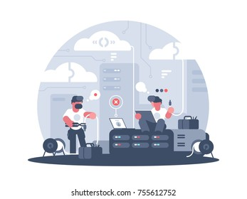 Engineers of service support of communication and connection. Vector illustration