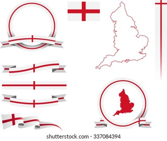 England Banner Set. Vector graphic ribbons and banners representing England.