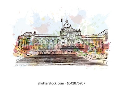 England, Birmingham. City skyline: architecture, buildings, streets, landscape, panorama, landmarks. Watercolor splash with Hand drawn sketch illustration in vector.