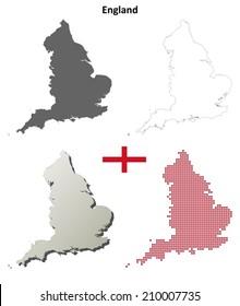 England blank detailed outline map set - vector version
