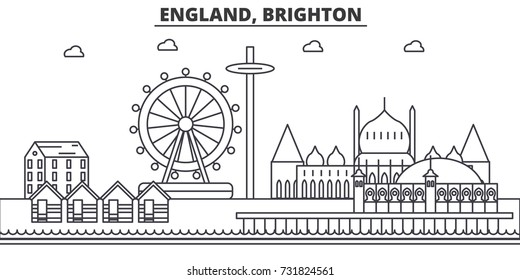 England, Brighton architecture line skyline illustration. Linear vector cityscape with famous landmarks, city sights, design icons. Landscape wtih editable strokes