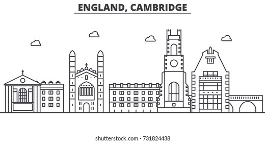 England, Cambridge architecture line skyline illustration. Linear vector cityscape with famous landmarks, city sights, design icons. Landscape wtih editable strokes