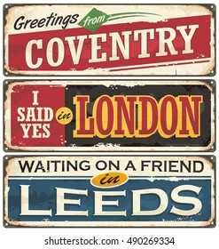 England cities retro souvenirs set. Vintage signs collection with places to visit in England. Travel destinations theme on old rusty background.