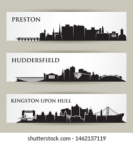 England cities skylines - Preston, Huddersfield, Kingston upon Hull, United Kingdom, UK, Great Britain - vector illustration