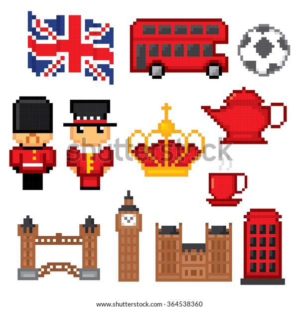 England Culture Symbols Icons Set Pixel Stock Vector