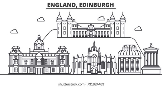 England, Edinburgh architecture line skyline illustration. Linear vector cityscape with famous landmarks, city sights, design icons. Landscape wtih editable strokes