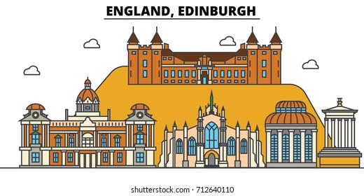 England, Edinburgh. City skyline: architecture, buildings, streets, silhouette, landscape, panorama, landmarks. Editable strokes. Flat design line vector illustration concept. Isolated icons set