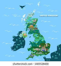 England or English, Scotland, Ireland map with famous landmarks. Great Britain or United kingdom, UK with stonehenge monument, Westminster palace or house of parliament, castle, cathedral architecture