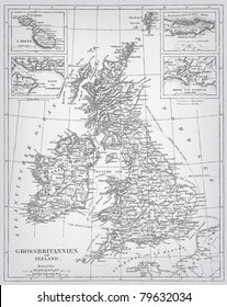 "England, engraving vector map from ""The Complete encyclopedia of illustrations"" containing the original illustrations of The iconographic encyclopedia of science, literature and art, 1851."