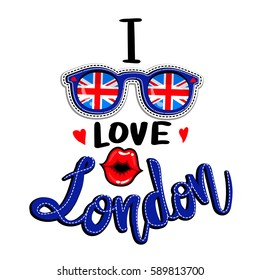 England flag on glasses. teenagers t shirt design with text I love London, kiss lips, hearts. modern wallpaper