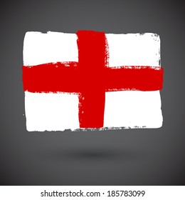 England flag painted on white paper with watercolor