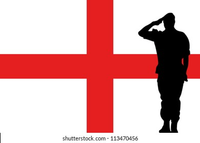 The England flag and the silhouette of a soldier saluting