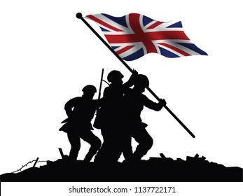 England flag and soldiers vector drawing