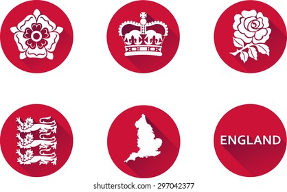 England Flat Icon Set. Set of vector graphic flat icons representing national symbols of England.