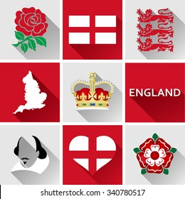 England Flat Icon Set. Set of vector graphic flat icons representing landmarks and symbols of England.