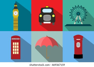 England flat vector pack taxi big ben ferris wheel telephone postbox umbrella