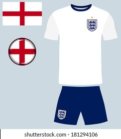 England Football Jersey. Abstract vector image of the England football team kit, along with the English flag and icon.