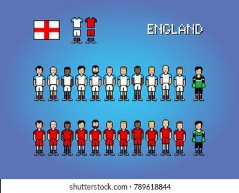 England football soccer player uniform pixel art game illustration