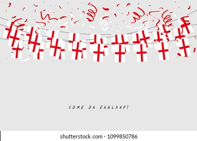 England garland flag with confetti on gray background, Hang bunting for England celebration template banner. vector