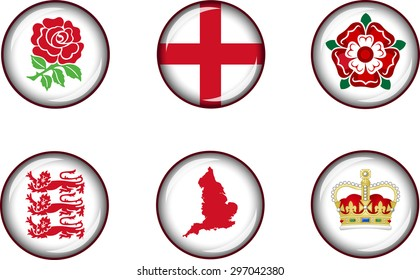 England Glossy Icon Set. Set of vector glossy icons representing national symbols of England.