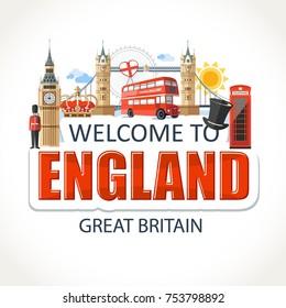 England lettering sights symbols culture landmark illustration