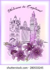 England London attractions postcard