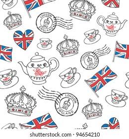 England London drawing seamless vector