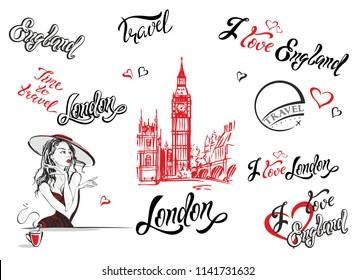 England. London. Set of elements for design. Lettering. Big Ben sketch. Girl in a hat drinking tea. Vector