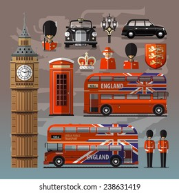 England, London, UK. Collection of color icons. Vector illustration